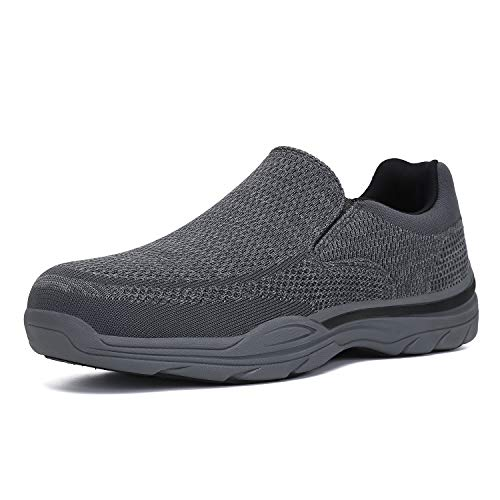 PAMRAY Zapatos de Mocasines Hombre Loafer Slip On Zapatillas Cómodo Calzado de Walking para Hombre Gris 43