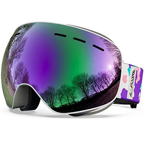 ACURE Gafas de Esquí, Máscara Gafas Esqui Snowboard Esquiar OTG sin Marco Doble Lente con protección Anti Niebla y UV400 para Hombre Mujer Adultos Juventud Jóvenes Chicos Chicas