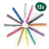 HiBen Acrylstifte - Wasserfeste Stifte in [12x] satten Farben - Inklusive E-Book mit zusätzlichen Ideen - Mit Präziser Spitze für genaues Malen - Zuverlässiger Halt auf Allen Oberflächen