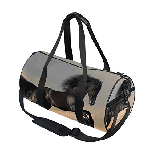 FANTAZIO Sporttasche mit schwarzem Pferd auf Gras, für Herren