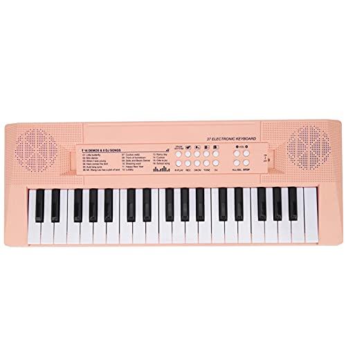 Elektronische Tastatur Klavier, 37 Tasten Digitale Tastatur mit Mikrofon Geschenk für Kinder 4 Farben zur Auswahl(Rosa)