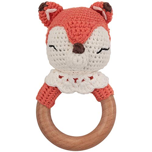 Beißring gehäkelt süßer Fuchs mit integrierter Babyrassel, Greifling Spielzeug Holz und Baumwolle   Geschenk zur Geburt, Babyparty, Handmade Rassel für Baby & Kinder Junge/Mädchen (Fuchs)