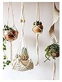 Macrame Plant Hanger Handmade Cotton Rope Wall Hangings Home Decor,30'...