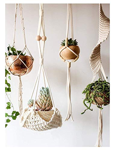 Macrame Plant Hanger Handmade Cotton Rope Wall Hangings Home Decor,30' L