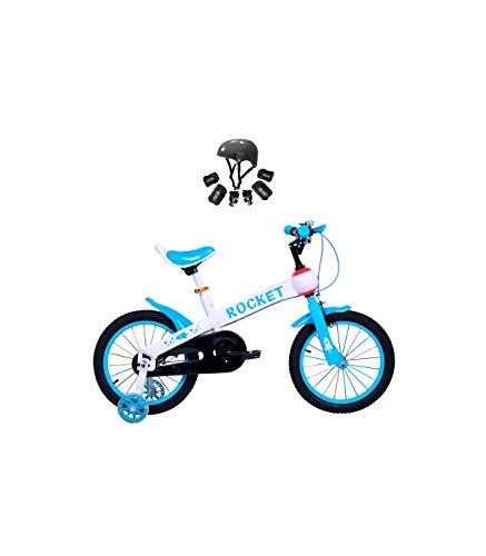 Wonduu Bicicleta para Niños con Ruedines Rocket Bicicleta Iniciación Azul 12 Pulgadas