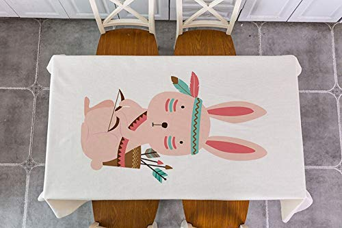 XXDD Mantel de decoración de Animales de Bosque Tribal Impermeable Rectangular decoración Mesa de té Mantel A8 135x135cm