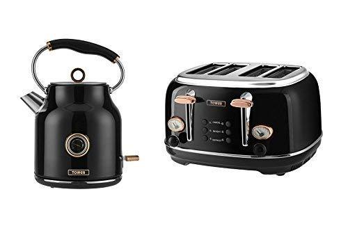 Set of 2 Kitchen Electrical Appliance Retro Stylish Set -Tower Rose Gold & Black 1.7 Litre Bottega Traditional Quiet Boil Kettle and Bottega 4 Slice Toaster