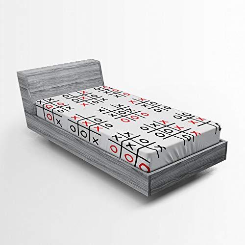 ABAKUHAUS Xo Hoeslaken, Tic Tac Toe Game Set Art, Zachte Decoratieve Stof Beddengoed, Elastische Band Rondom, 90x 190 cm, Zwart Wit en rood