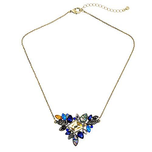 JZWX Europese en Amerikaanse Retro Sieraden Verse en Kleurrijke Diamant Hanger Dames Korte Trui Ketting Legering Diamant Kristal
