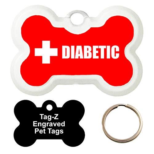 Tag-Z Medical Alert - Diabetic - Customized - PET TAG - Bone Shape Dog Tags