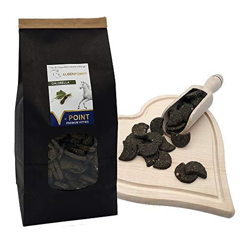 V-POINT CHLORELLA - Premium Vitties für Pferde - für Muskelaufbau Kondition Entgiftung des Körpers - EMS und Cushing - Pferdeleckerli mit Chlorella Algen Pulver getreidefrei (1x500g)