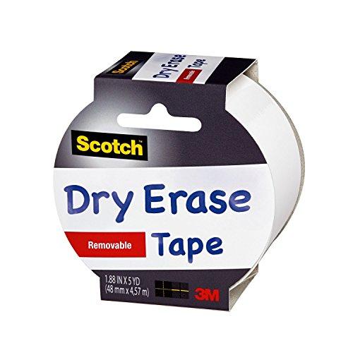 "Scotch Dry Erase Tape, 1.88"" x 5 Yards, 1 Roll, White (1905R-DE-WHT)"