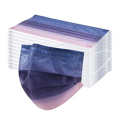 DeaAmyGline 50 Stück Einweg,3-lagig Vliesstoff,Mund-Nasen-Schutz,mit Bunt Motiv,Atmungsaktive,Multifunktionstuch Halstuch Bandana für Erwachsene