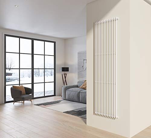 Radiatore termoarredo verticale a colanna in acciaio H 200x58 colore bianco ideale per bagno, soggiorno e living