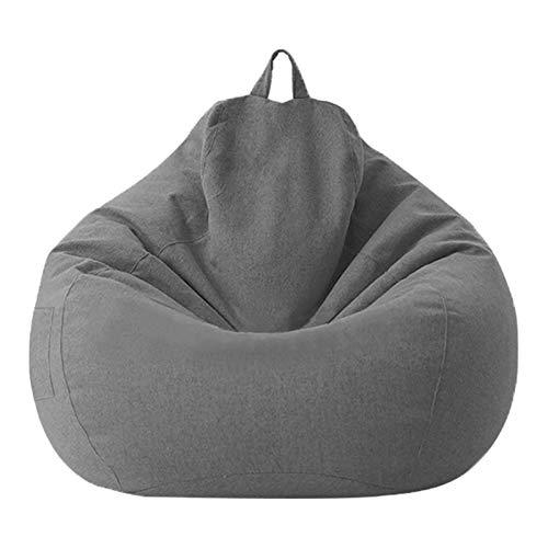 POHOVE Sitzsack, groß, Schlafzimmer, weich, staubdicht, waschbar, gefüllt, schützend, für Zuhause, Wohnzimmer, multifunktional, ohne Füllstoff, Büro, Erwachsene, Kinder (MDark Grau)