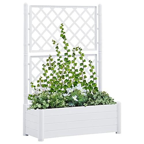 vidaXL Jardinera con Enrejado Pérgola Arriate Macetero Caja de Flores Bandeja Plantas Jardín Porche Decoración Patio Estable PP Blanca 100x43x142 cm