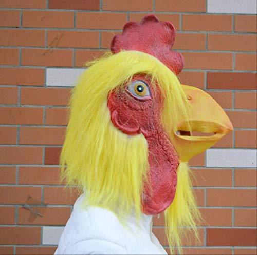 tytlmaske Lustige Schwanz Latex Maske,Erwachsene Huhn Kostüm Gummi Maske,Gruselige Hahn Maske,Für Halloween Karneval Weihnachten Ostern Party Requisiten,Passt Die Meisten Erwachsenen Köpfe