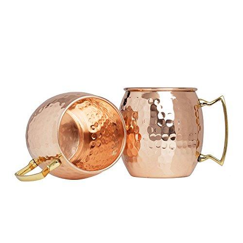 Zap Impex Pure Copper Moscow Mule Cup, Cobre Martillado, Juego de Regalo de 2