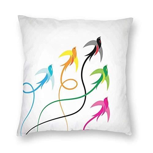 Fundas de almohada de grupo de coloridas golondrinas de pájaros volando al cielo, esperanza fénix alas, arte gráfico, funda de cojín decorativa para decoración del hogar, sofá de 45,7 x 45,7 cm