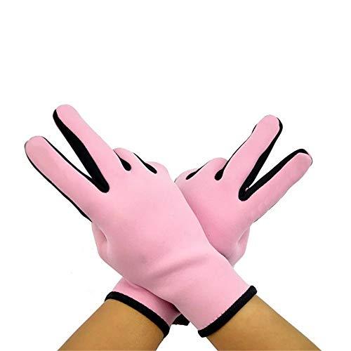 Guantes de neopreno QiHaoHeji de 2 mm para natación de invierno, resistentes al desgaste, antideslizantes, para surf, esnórquel, pesca, buceo, deportes acuáticos (color: rosa, tamaño: S)
