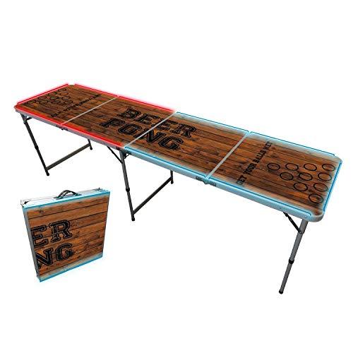 Offizieller Light Beer Pong Tisch | Mit LED Beleuchtung | Premium Qualität | Offizielle Wettkampfmaße | LED Beer Pong Table | Kratz und Wassergeschützt | Partyspiele | Trinkspiele | 100% Spaß
