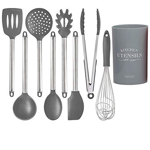 Duurzaam roestvrij staal Handle Silicone keukengerei, 9-delige set, Spatel Spaghetti lepel keukengerei, met Storage Bucket,Gray