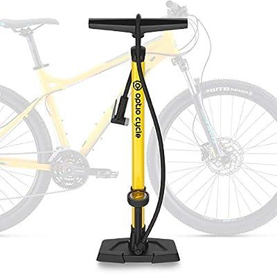 Optio Cycle Luftpumpe für Fahrrad Standpumpe Fahrradpumpe mit Adaptern für Verschiedene Ventile Standluftpumpe mit Manometer Display für E-Bike, Mountainbike, Rennrad Zubehör