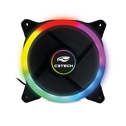 Cooler Fan C3Tech Gaming F7-L120M 12cm - Com iluminação RGB 12v 1200RPM Multicor
