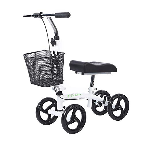 ELENKER Steerable Knee Walker Foldable Scooter for People Below 5' Tall Crutch Alternative White