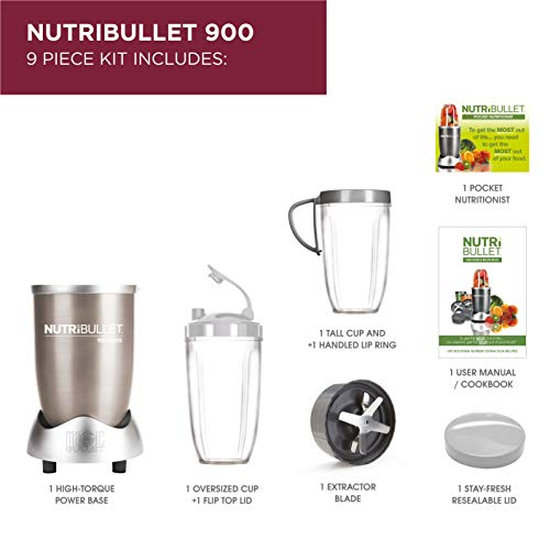 NutriBullet 900W Blender – Champagne Multi-Function Cold Beverage Smoothie Maker – 2 Cup Sizes and Stay Fresh Lid