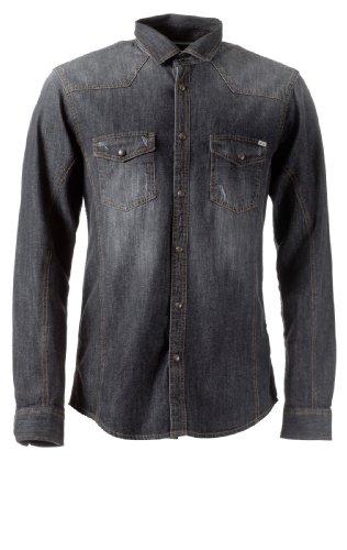 JACK & JONES Herren Jeanshemd Western Beaverton Shirt L/S 78, Black Denim/PD 2617/LS, L