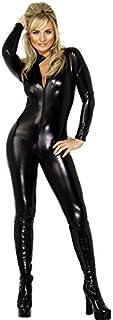 Smiffy's Smiffys-28629S Disfraz Fever de Miss Látigo, con Enterizo Ajustado con Cremallera, Color Negro, S - EU Tamaño 36-38 28629S