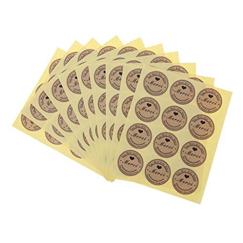 YiFeiCT 120 etiquetas adhesivas de papel kraft Merci, etiquetas autoadhesivas para empresas a granel, pegatinas de regalo para decoración de pasteles (sólo pegatinas)