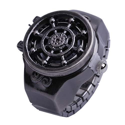 Vintage Rudder Finger Uhr Clamshell Ring Uhr, antike Unisex einstellbar dehnbar Armband Finger Uhren Ring Uhr, Männer Retro Finger Uhr,Gunblack