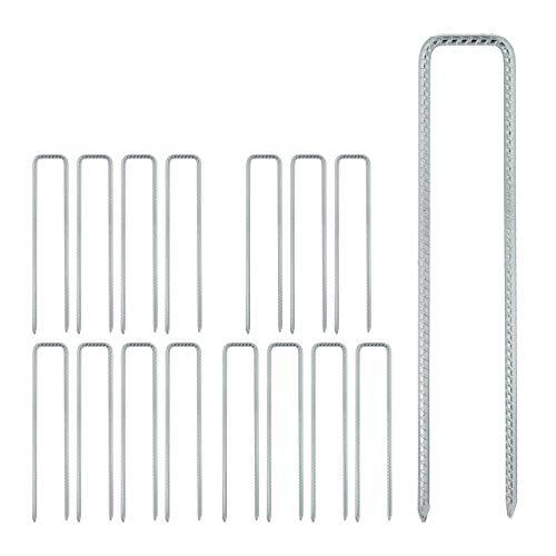 Relaxdays 16 x Erdanker, Bodenanker für Vliese, Zäune, Zelte, U Form, stabil, Stahl verzinkt, Erdhaken, HxBxT 41x8x1 cm, Silber