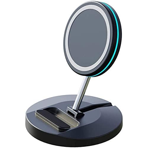 15W Plegable Magnético Inalámbrico Rápido Cargador, Escritorio Teléfono Soporte, Compatible con QI inalámbrico Cargando Estación por iPhone 12 Pro MAX Samsung