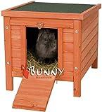 BUNNY BUSINESS Cat/Puppy/Rabbit/Guinea Pig Wooden Hide House, 51 x 44 x 42cm, Natural
