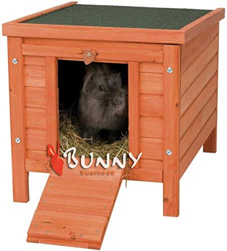 BUNNY BUSINESS - Casa de Madera para Gatos, Cachorros, Conejos, cobayas, 51 x 44 x 42 cm, Color Natural