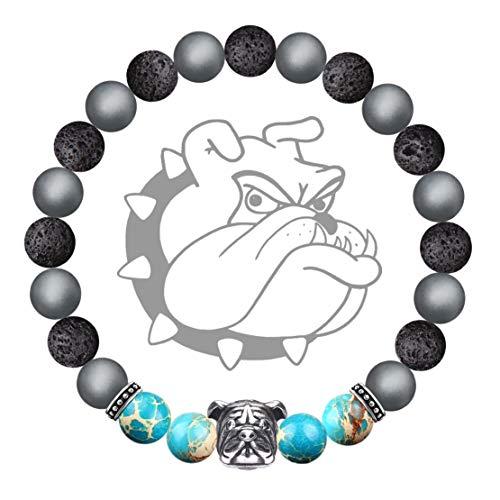 Karseer Vintage Silver Bulldog Mascot Stress Relief Healing Bracelet...
