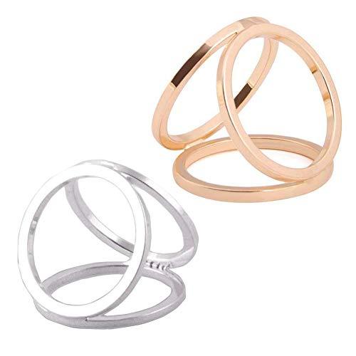 Ericotry Damen / Mädchen Schal Clips, modisch, mit Ring-Schnalle, modern, einfach, dreifach schiebbar, aus Seide, Sarf-Verschluss, 2 Stück