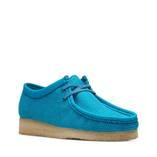 Clarks Wallabee zapatos con cordones para hombre, Azul (Tejido verde azulado.), 45.5 EU