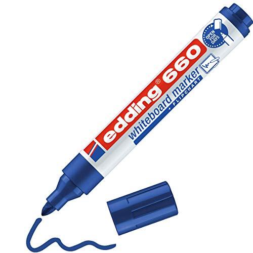 edding 660 Marqueur pour tableaux blancs - bleu - 1 stylo - pointe ronde 1,5-3 mm - feutre effaçable - pour tableaux blanc, magnétique, mémo et chevalet de conférence - sketchnotes - rechargeable