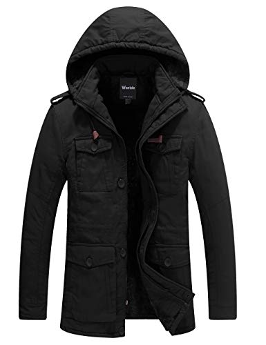 Wantdo Men's Thicken Cotton Parka Jacket Hooded Casual Winter Coat(Black,L)