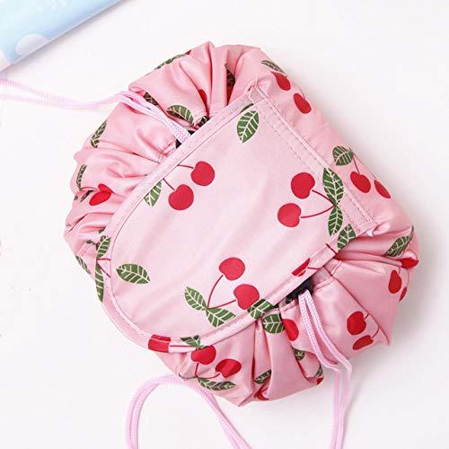 Women Drawstring Travel Cosmetic Bag Makeup Bag Organizer Make Cosmetic Bag Case Storage Pouch Toiletry Beauty Kit Box Pink Cherry