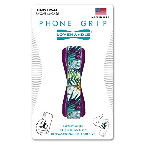 LoveHandle Universal Grip for Smartphone and Mini Tablet, Island Day Dream Design Elastic Strap with Purple Base