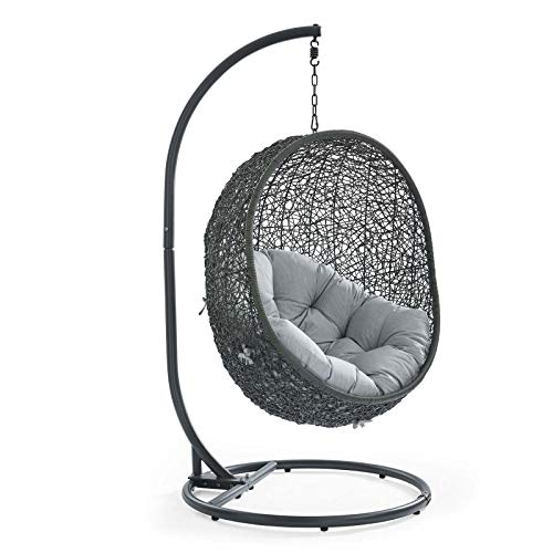 Modway Hide Wicker Rattan Outdoor Patio Porch Lounge Egg Swing Chair Set with Stand in Gray
