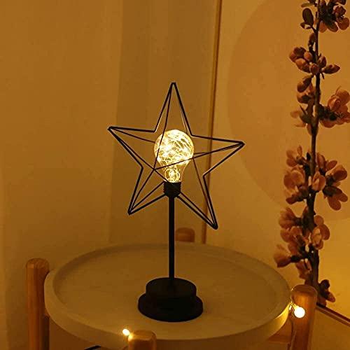 CMMT Lámpara de escritorio romántica estrella decoración linterna hierro cobre luz creativa forma LED noche lámpara de mesa 36 * 22 * 12 cm