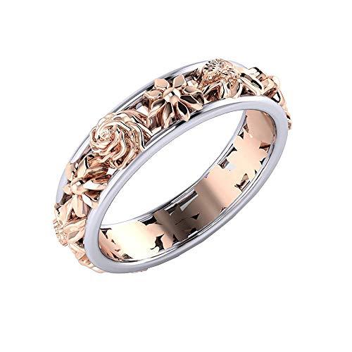 LABIUO Einfacher Blumenring Legierung Ring Verlobungsdiamantring(Mehrfarbig,9)