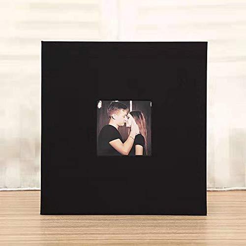 SACHUKOT Großes Fotoalbum, selbstklebend, magnetisch, 40 Seiten, magnetisch, Vorderseite/Rückseite aus Leinen, starrer Einband, 28 x 27 cm, mit zwei Stiften aus Metall(schwarz)