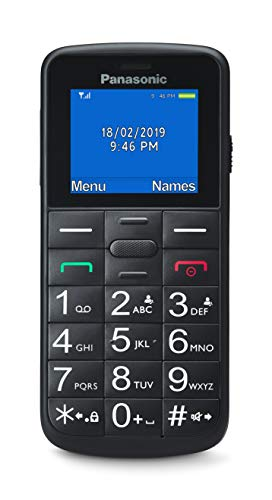 Panasonic KX-TU110EXB- Teléfono Fijo Móvil Para personas mayores (Pantalla y Teclas Grandes, Botón SOS, Resistente a Golpes, Linterna, Batería 22h) - Color Negro